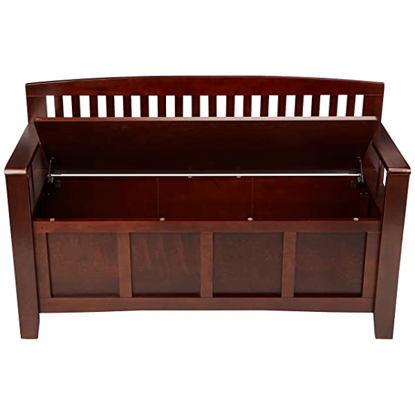 "Linon Home Dcor 83985WAL-01-KD-U Linon Home Decor Cynthia Storage Bench, 50"" w x 17.25"" d x 32"" h, Walnut"