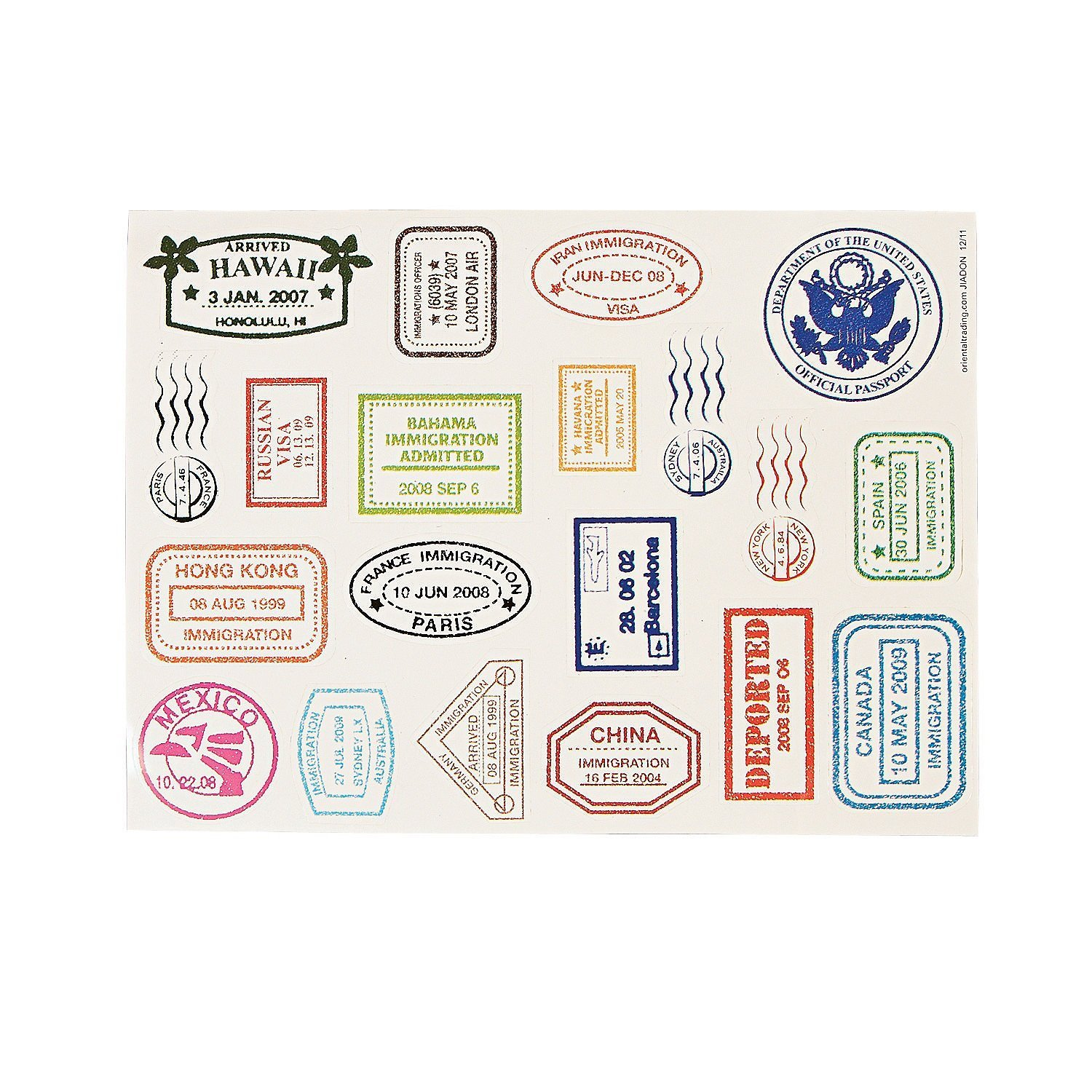 graphic relating to Printable Passport Stamps for Kids named Entertaining Categorical Pport Stamp Sticker Sheets (480 Stickers)