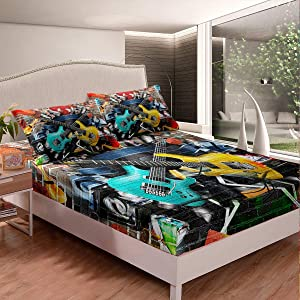 Electric Guitar Bed Sheet Set Set for Teens Girls Youth Boys Colorful Wall Urban Street Art Fitted Sheet Modern Rock Music Theme Bedding Set Hippie Fashion Musical Decor 2Pcs Twin Size