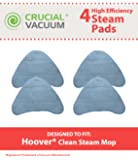 4 Replacement for Hoover Steam Pads Fit WH20200 & WH20300 Steam Mops, Compatible With Part # WH01000, Washable & Reusable, by Think Crucial