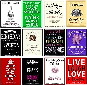American Art Classics Set of 12 - Funny Birthday Wine Bottle Labels - 5 Inch X 4 Inch