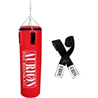AURION 48 Inches (Filled) with Hand Wrap Red Synthetic Hard Punching/Boxing Bag(Red)