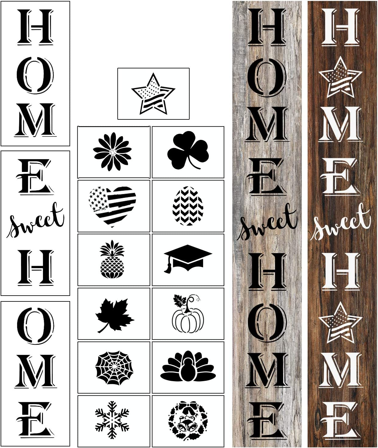 OCCdesign Home Sweet Home Sign Stencils Housewarming Templates New Home Decor for Porch Front Door of Home Hotle Store, Easter, 4th of July, Halloween, Thanksgiving, Christmas, Graduation Decor