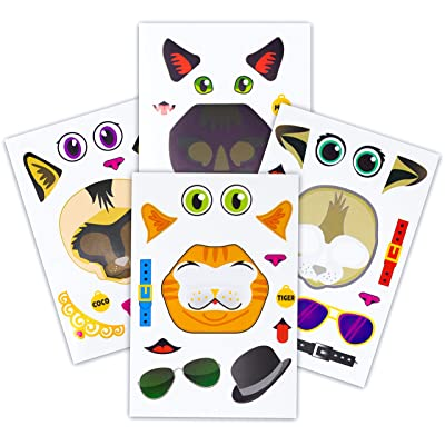 24 Make A Cat Stickers - Create Your Own Kitten Sticker With Various Faces - Includes Tabby, Siamese, Bengal, Black Cats - Great Kid's Party Favor Or Activity - A Must Have For Kitty Lovers!: Toys & Games