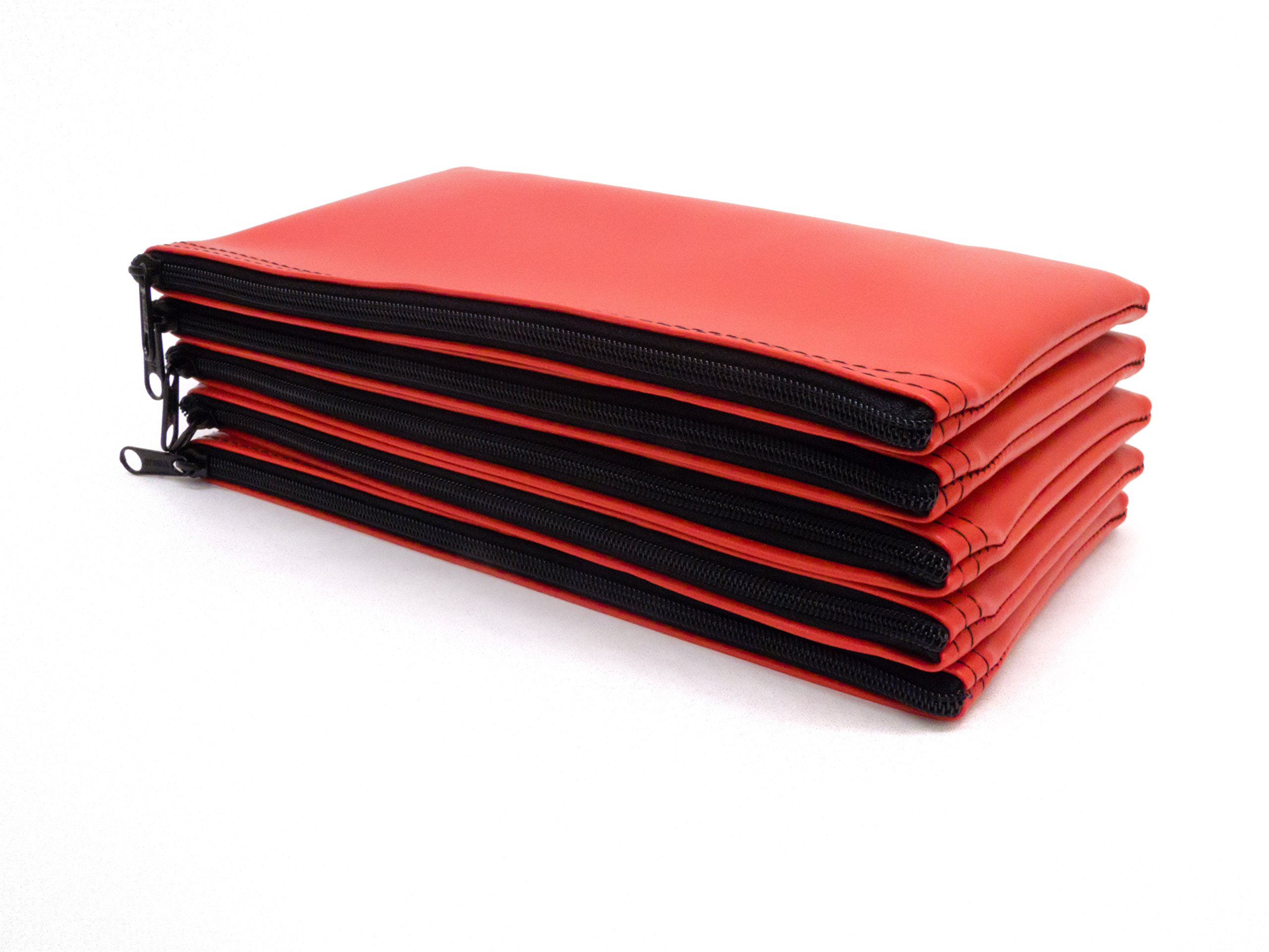 Zipper Bank Deposit Bag 5.5 X 10.5 Coin Check Money Wallet Red Pack of 10 by Carousel Checks Inc. (Image #4)