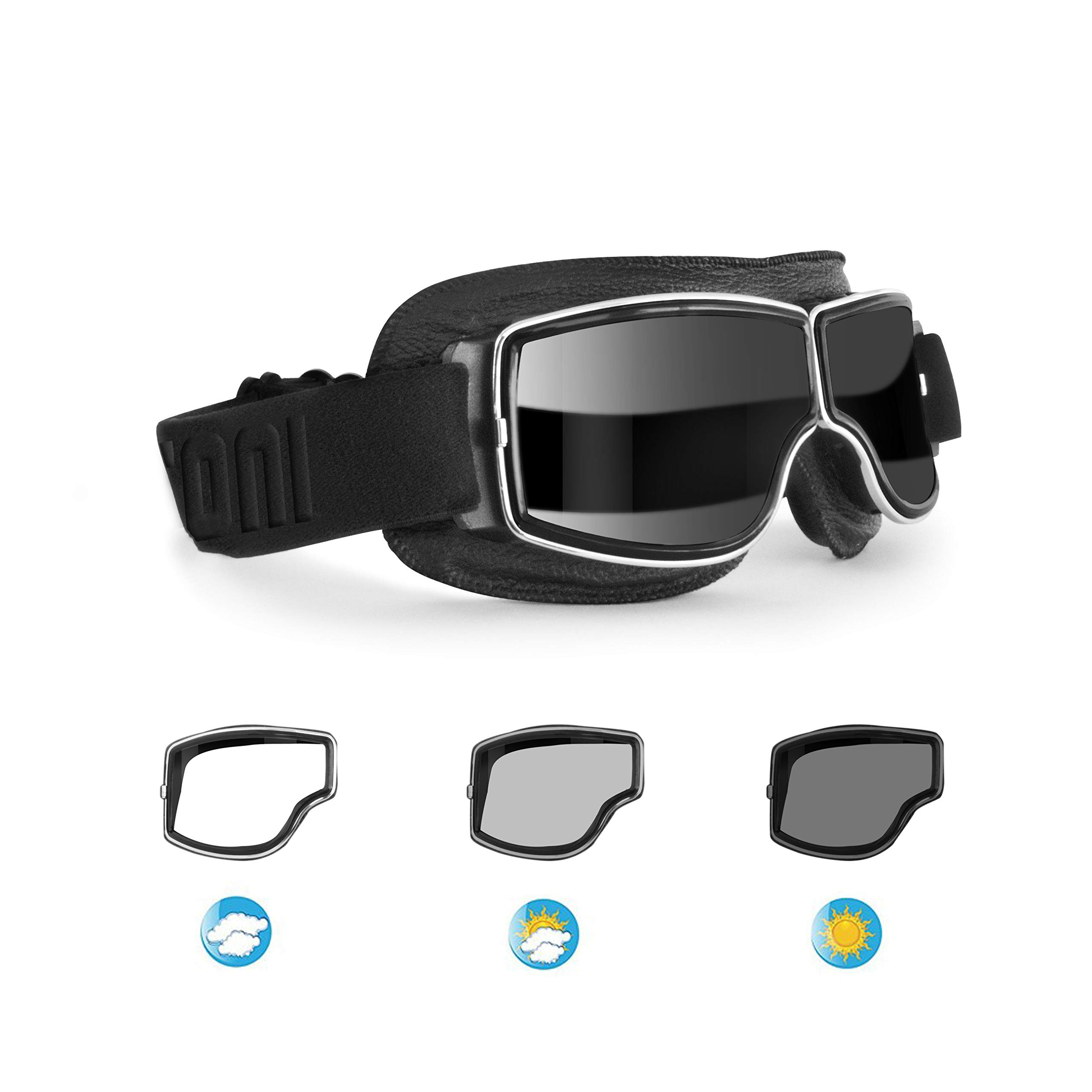 Bertoni Aviator Motorcycle Vintage Goggles Photochromic Lenses F188PH Motorbike Sunsensor Black Leather Glasses for Helmets by Bertoni
