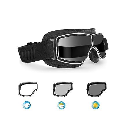 ff01bf98e329 Amazon.com  Bertoni Aviator Motorcycle Vintage Goggles Photochromic Lenses  F188PH Motorbike Sunsensor Black Leather Glasses for Helmets  Automotive