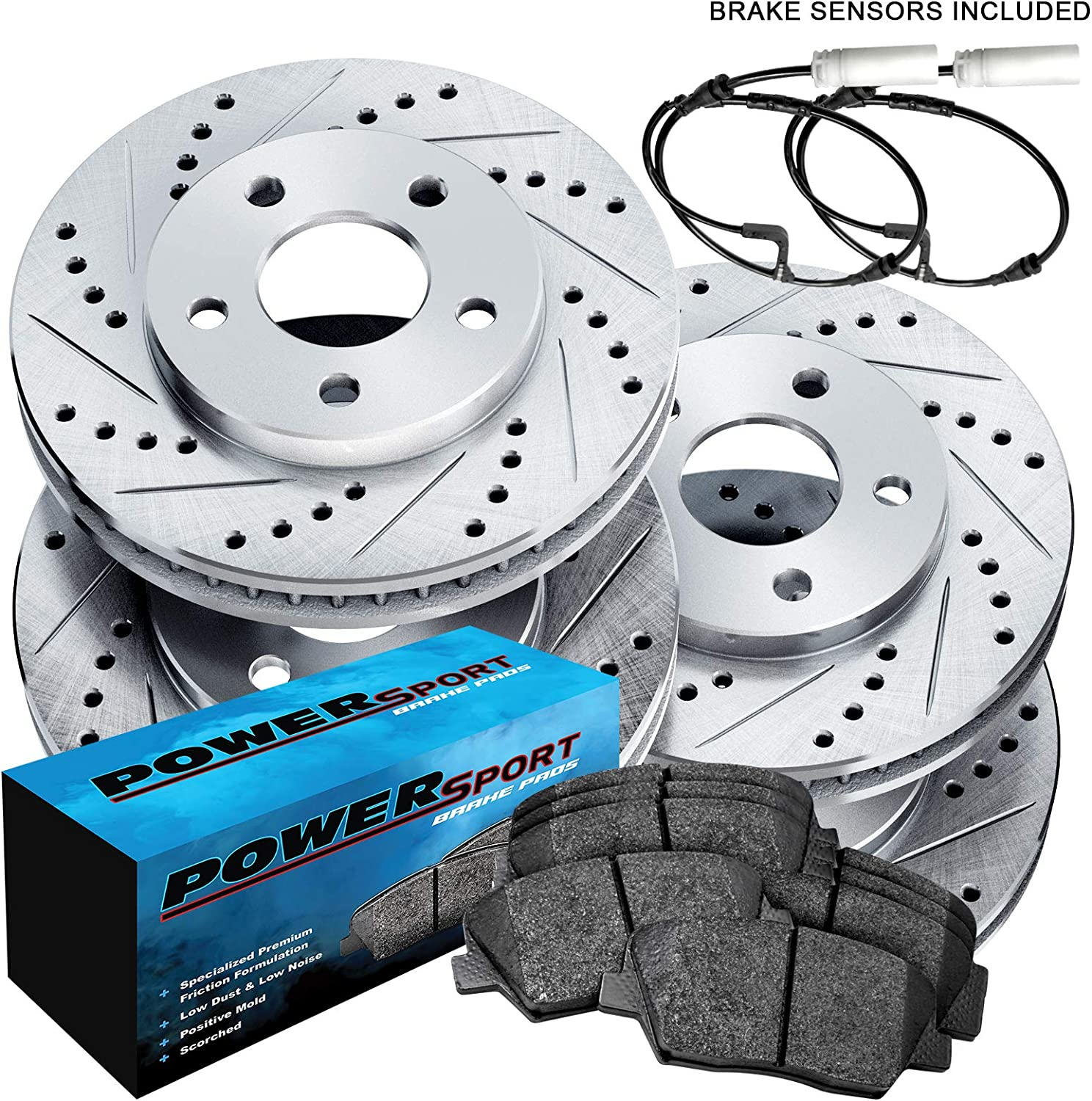 For 2003-2005 BMW Z4 Front Rear eLine Black Slotted Brake Rotors+Ceramic Pads