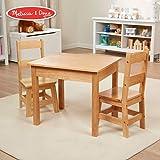 "Melissa & Doug Solid Wood Table & Chairs (Kids Furniture, Sturdy Wooden Furniture, 3-Piece Set, 20"" H x 23.5"" W x 20.5"" L)"