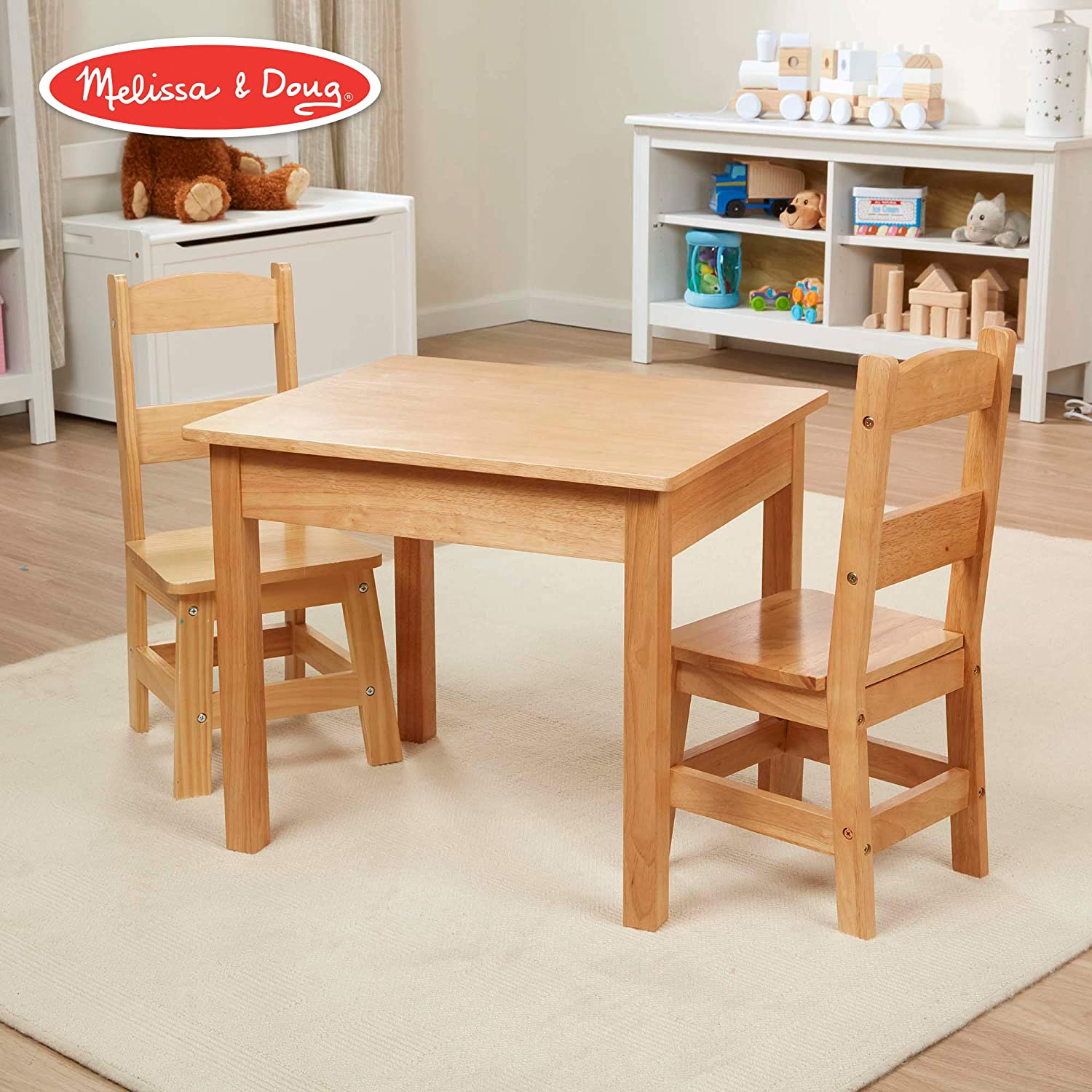"4b41fc0f85cd2 Melissa & Doug Solid Wood Table & Chairs (Kids Furniture, Sturdy Wooden  Furniture, 3-Piece Set, 20"" H x 23.5"" W x 20.5"" L)"