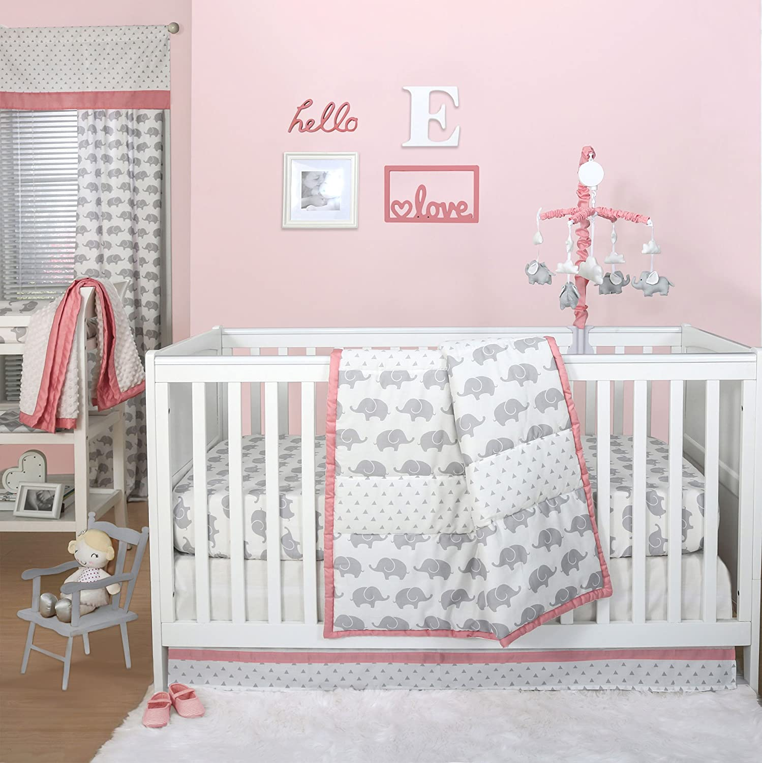 Grey Elephant and Triangle Dot 4 Piece Baby Crib Bedding Set with Coral Pink by The Peanut Shell   B01HQR8TZM