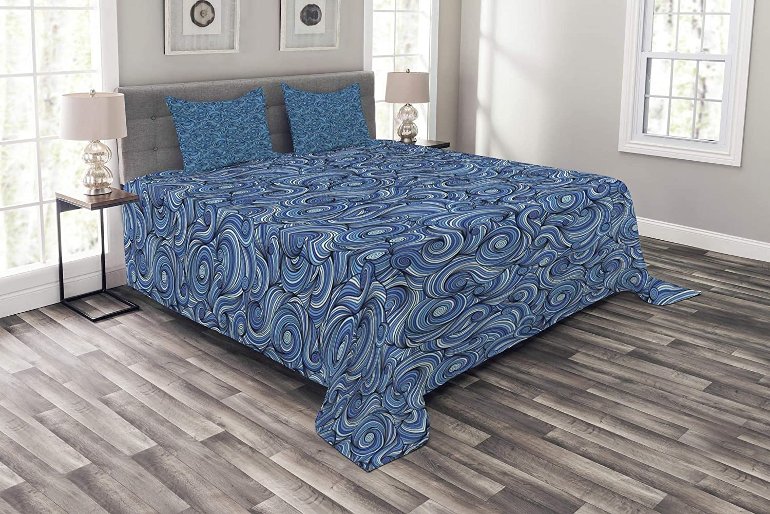 Ambesonne Asian Bedspread, Zentangle Style Circles Swirling Lines Ornate Exotic Tribal, Decorative Quilted 3 Piece Coverlet Set with 2 Pillow Shams, Queen Size, Dark Blue