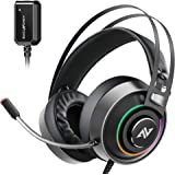 ABKONCORE B719M Pro Gaming Headset with Superb 7.1 Sound Card, Gaming Headphone for PS4, PC, Xbox one, Switch, Laptop…