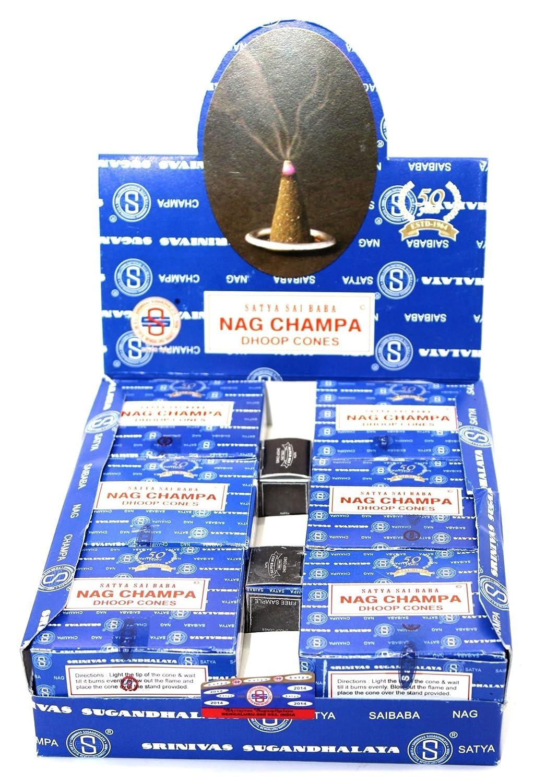 Nag Champa Satya Sai Baba Temple Incense Cones Carton, 12 Box NCCONES
