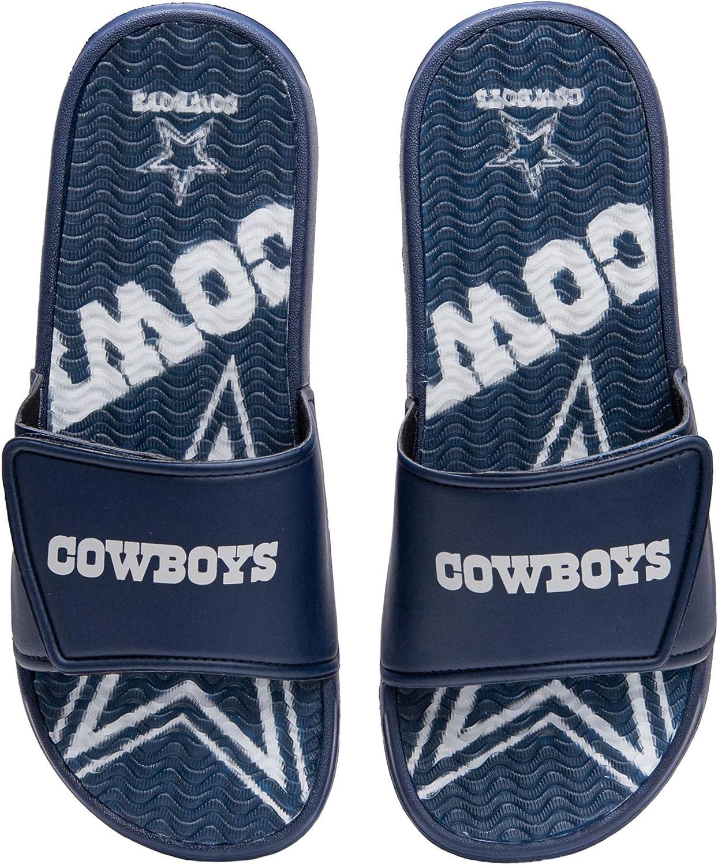 FOCO NFL Dallas Cowboys Mens Sport Shower Gel Slide Flip Flop SandalsSport Shower Gel Slide Flip Flop Sandals, Wordmark, Medium (9-10) (FFSSNFCBBLGGEL)