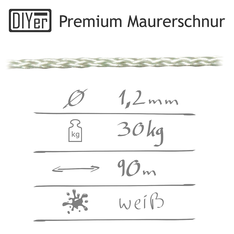 DIYer - Premium Maurerschnur Mehrzweckseil Richtschnur Schnur - 1,2mm - 90m  - ca. 30kg (daN) - Polypropylen - Farbe weiß - Made in AT: Amazon.de:  Gewerbe, ...