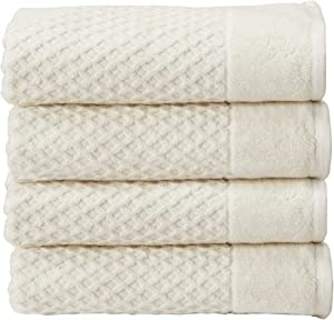 100% Cotton Quick-Dry Bath Towel Set (30 x 52 inches) Highly Absorbent, Textured Luxury Bath Towels. Grayson Collection (Set of 4, Ivory)
