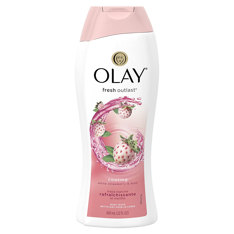 Olay Fresh Outlast Cooling White Strawberry & Mint Body Wash, 22 oz