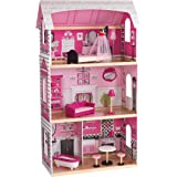 KidKraft 65832 Bonita Rosa wooden Dollhouse with furniture and accessories included 3 storey play for 30 cm dolls