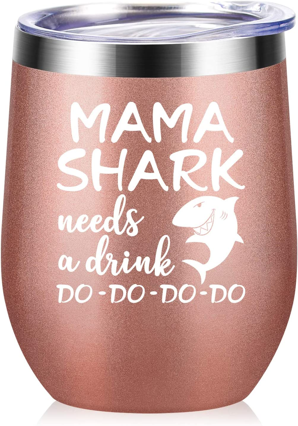 Mama Shark Needs a Drink - Gifts for Mom - Funny Birthday Gifts for Mom from Daughter, Son - Mom gifts for Christmas, Mother's Day, New Mon, Mommy, Wife, Women - 12 oz Wine Tumbler - Rose Gold