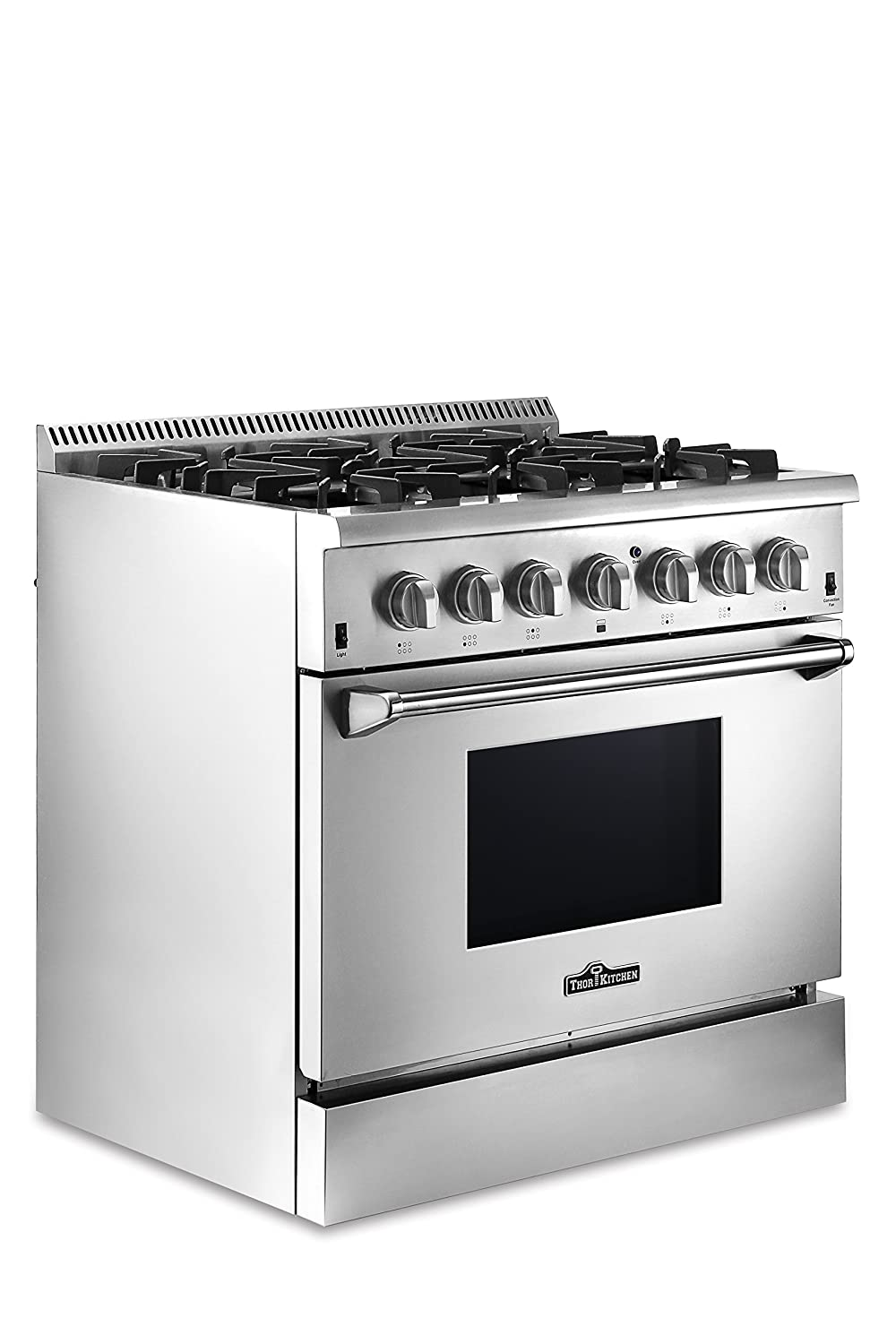 ft Dual Fuel Range Stainless Steel Thor Kitchen 36-5.2 cu Freestanding Electric Oven with 6 Burners Gas Range and Convection Blower Fan HRD3606U-1 Without LP Conversion Kit