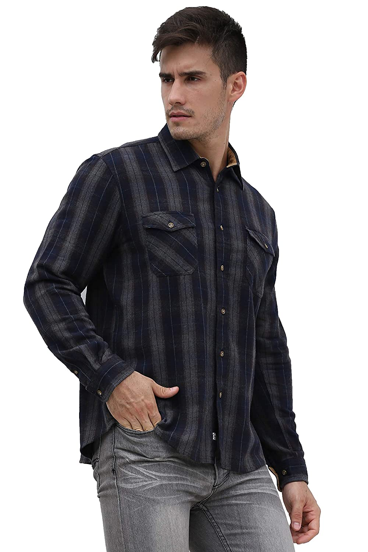 Broadlands Men/'s Long-Sleeve Casual Custom-Fit Flannel Shirt