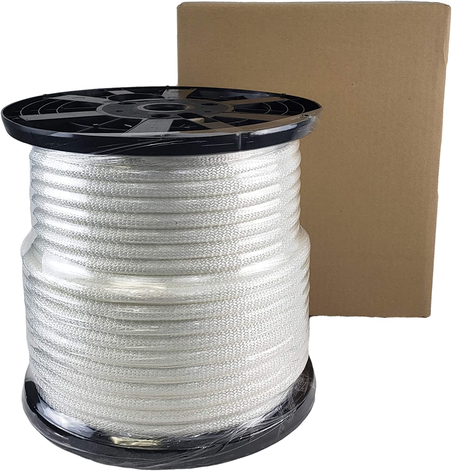 High UV and Abrasion Resistance 250 Foot Spool Industrial Grade 1//2 inch White Polyester Rope