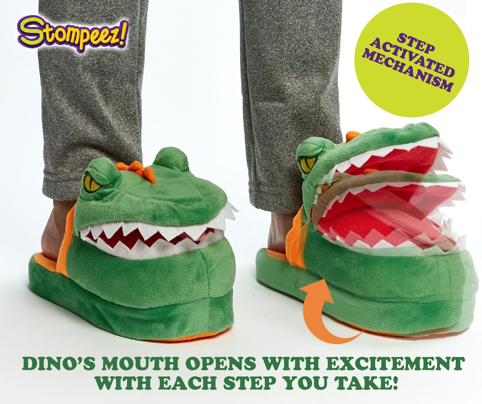 Stompeez Animated Dinosaur T-Rex Plush Slippers - Ultra Soft and Fuzzy - Mouth Opens and closes as You Walk - Medium by Stompeez (Image #2)