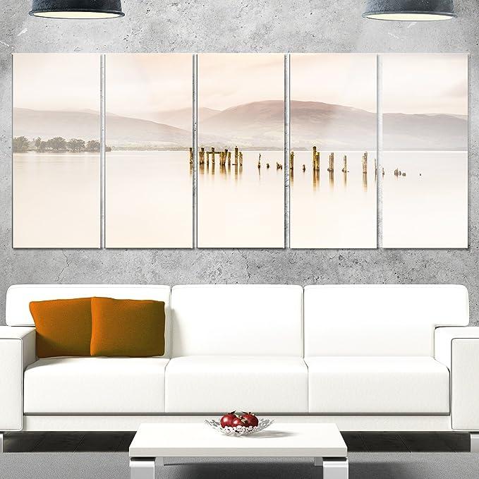 Amazon Com Designart Loch Lomond Jetty And Mountains Landscape Canvas Metal Wall Art 28 H X 60 W X 1 D 5pe White Posters Prints
