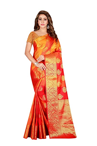 67bf5a09ad85b Trendy Store Orange Red Color Banarasi Silk Saree For Women With Contrast  Jacquard Blouse Piece