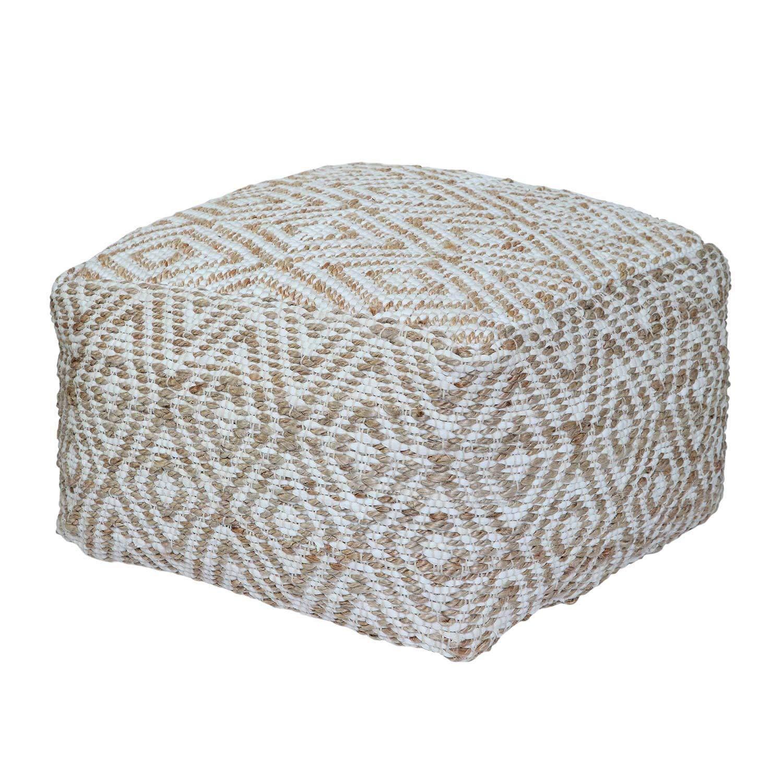 Homescapes handgewobener Chindi Sitzpouf - Sitzkissen mit geometrischen Muster, Diamant, Hanf, Beige - Weiß, Sierra, 60 x 60 x 30cm
