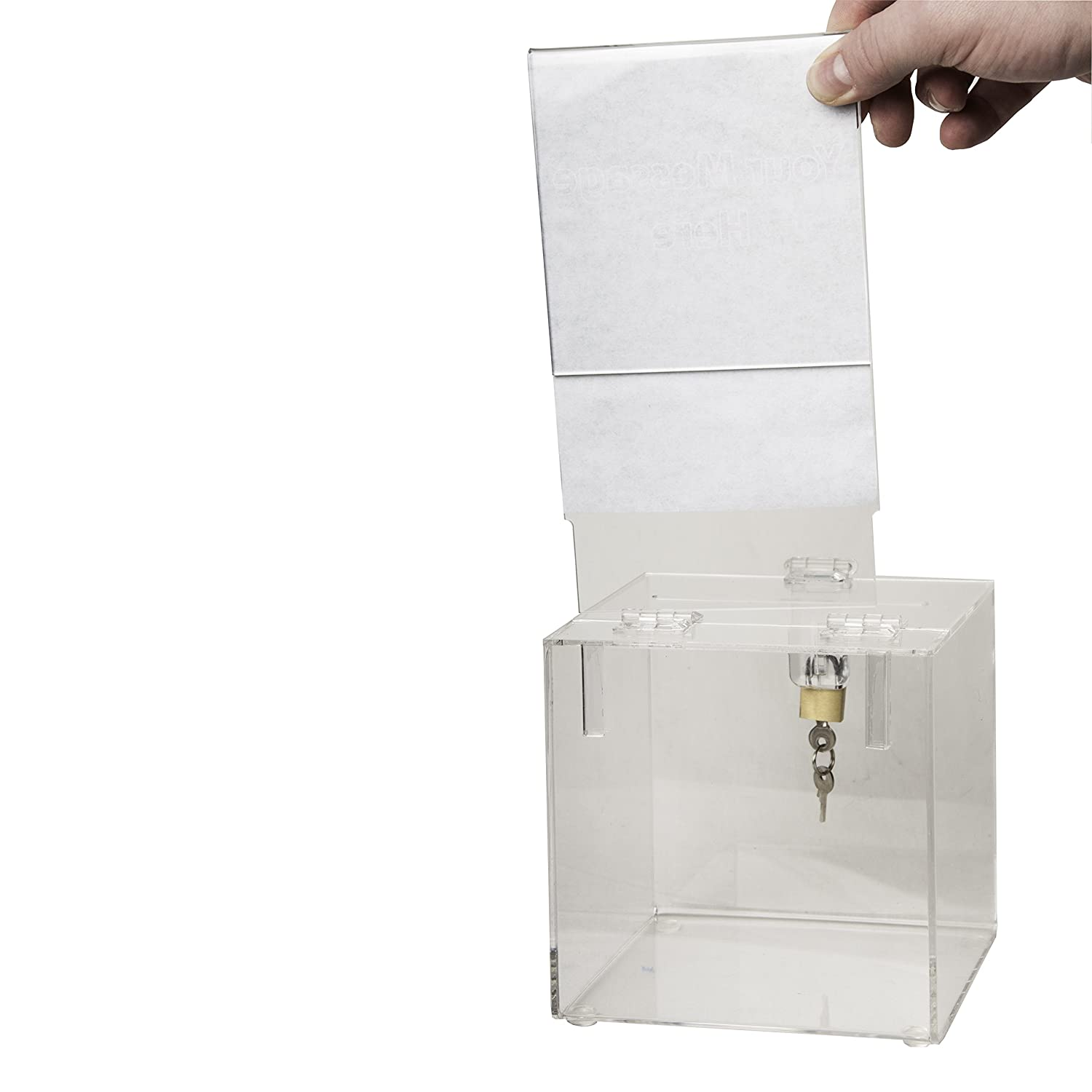Clear Suggestion Box Container for Voting Charity,Ballot Ballot Box with Sign Holder Acrylic Donation Box with Lock