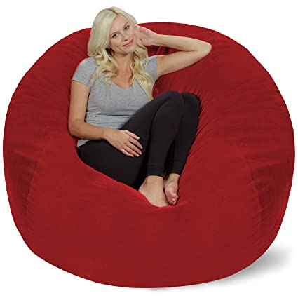 Brilliant Chill Sack Bean Bag Chair Giant 5 Memory Foam Furniture Bean Bag Big Sofa With Soft Micro Fiber Cover Red Pebble Cjindustries Chair Design For Home Cjindustriesco