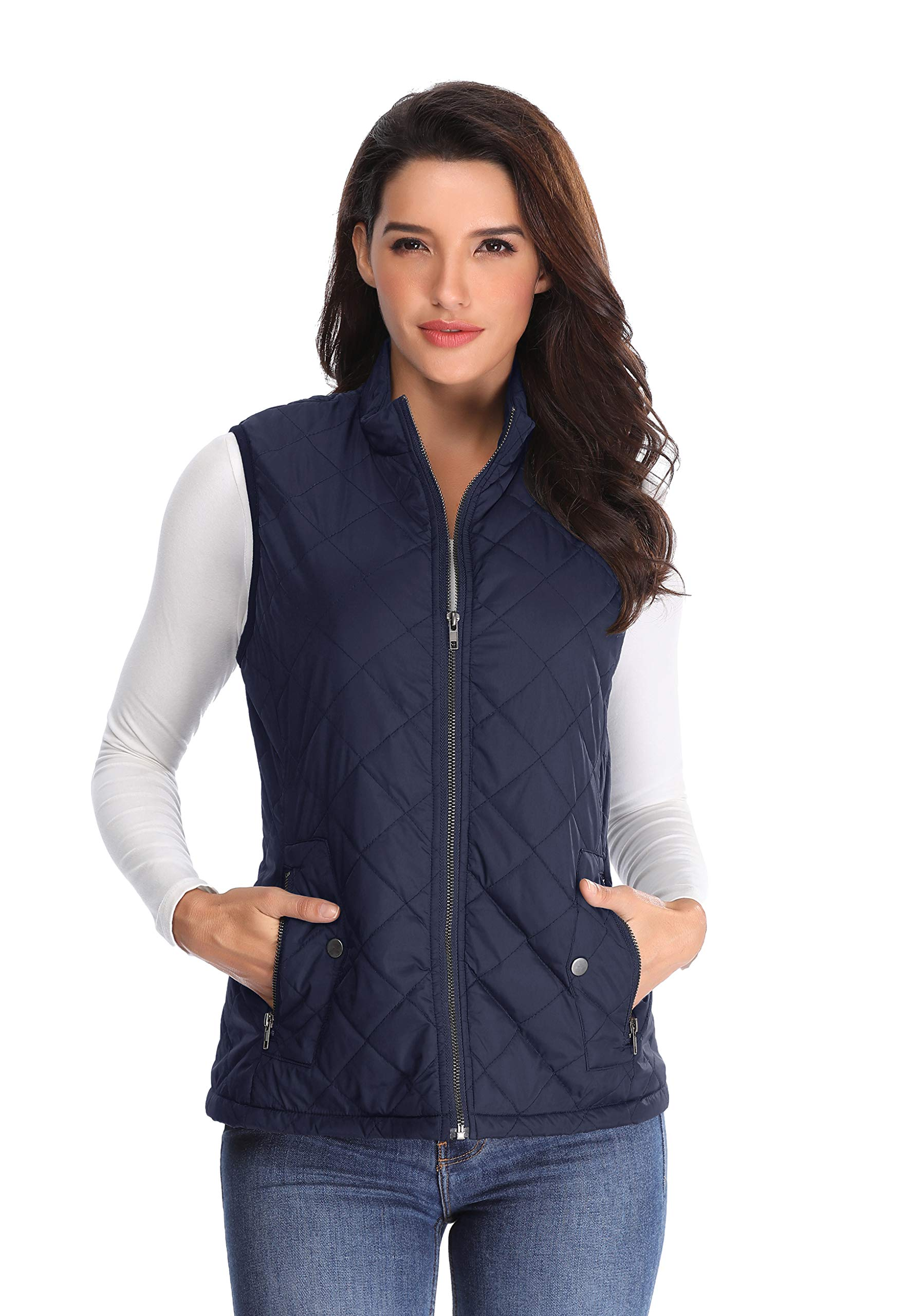 MISS MOLY Women's Lightweight Quilted Zip Vest Stand Collar Gilet Padded Sleeveless Gilet Vest-Navy Blue M by MISS MOLY