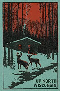 product image for Up North, Wisconsin - Deer and Cabin in Winter - Woodblock (12x18 Art Print, Wall Decor Travel Poster)