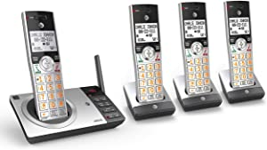 AT&T CL82407 DECT 6.0 Expandable Cordless Phone with Answering System & Smart Call Blocker, Silver/Black with 4 Handsets (Renewed)