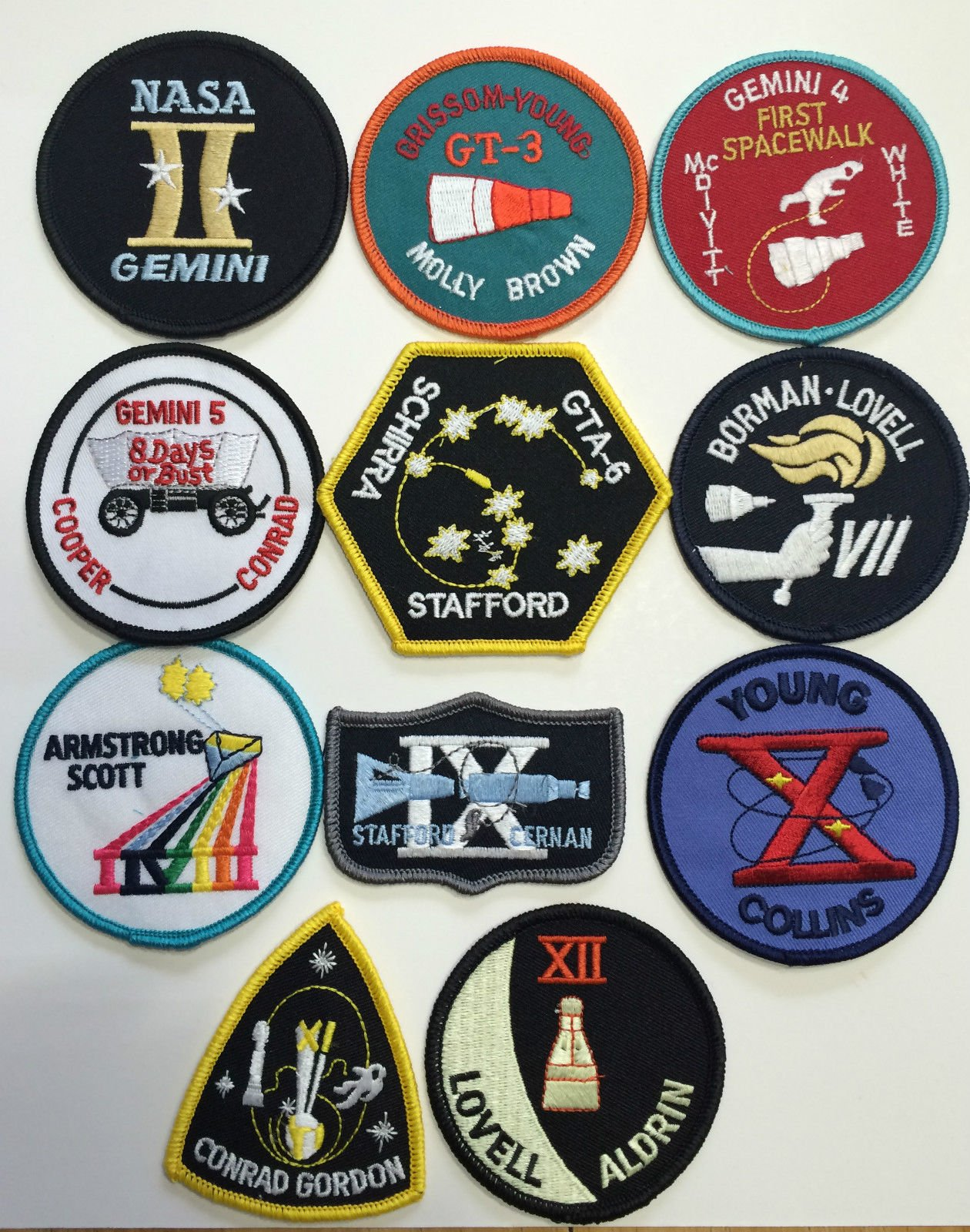 New Official Nasa Space Program Gemini Patch Emblem Set Made in USA Armstrong by NASA