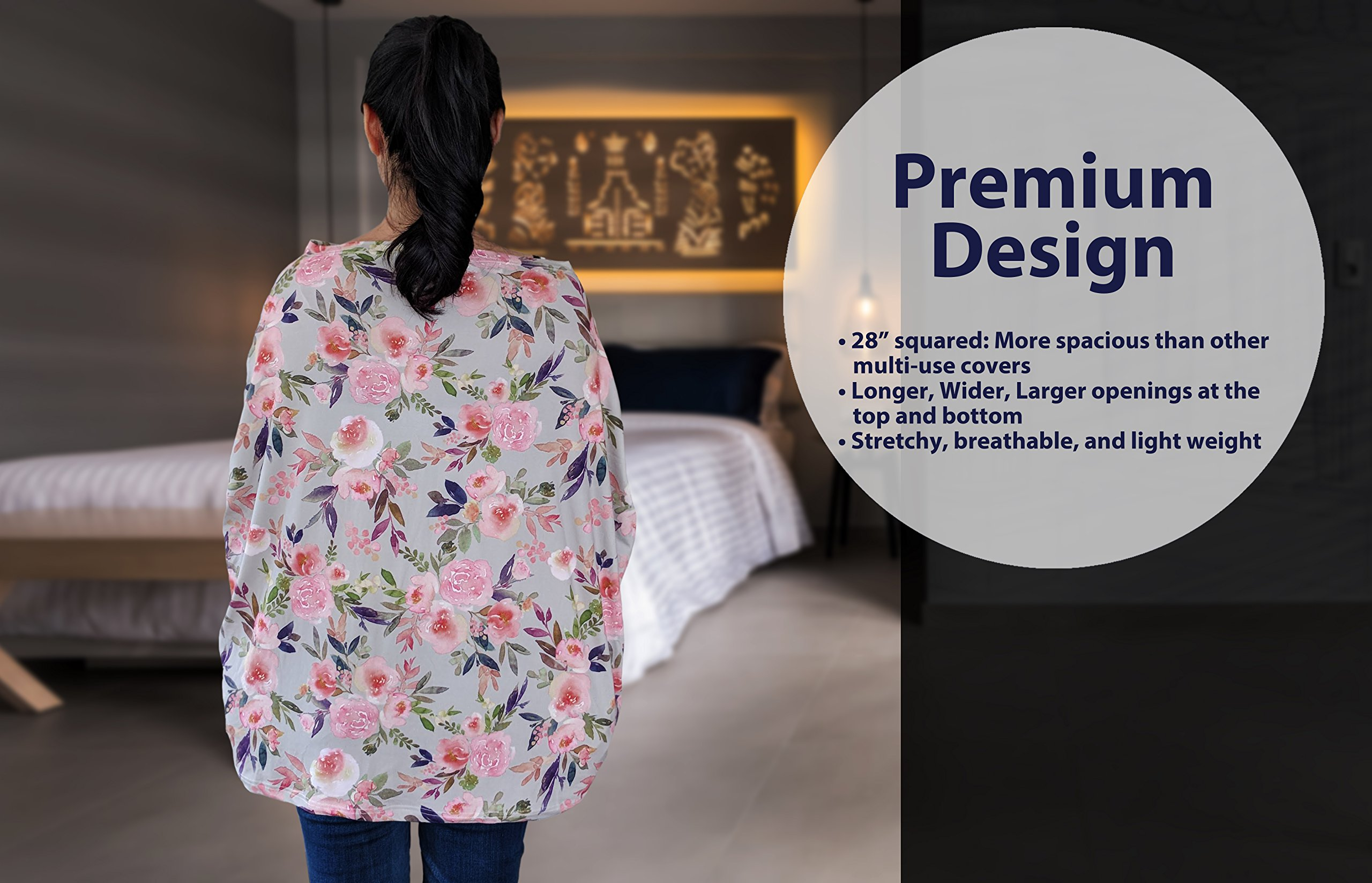 Premium Soft, Stretchy, and Spacious 4 in 1 Multi-Use Cover for Nursing, Baby Car Seat, Stroller, Scarf, and Shopping Cart - Best Gifts by Pobibaby (Grace) by Pobibaby (Image #9)
