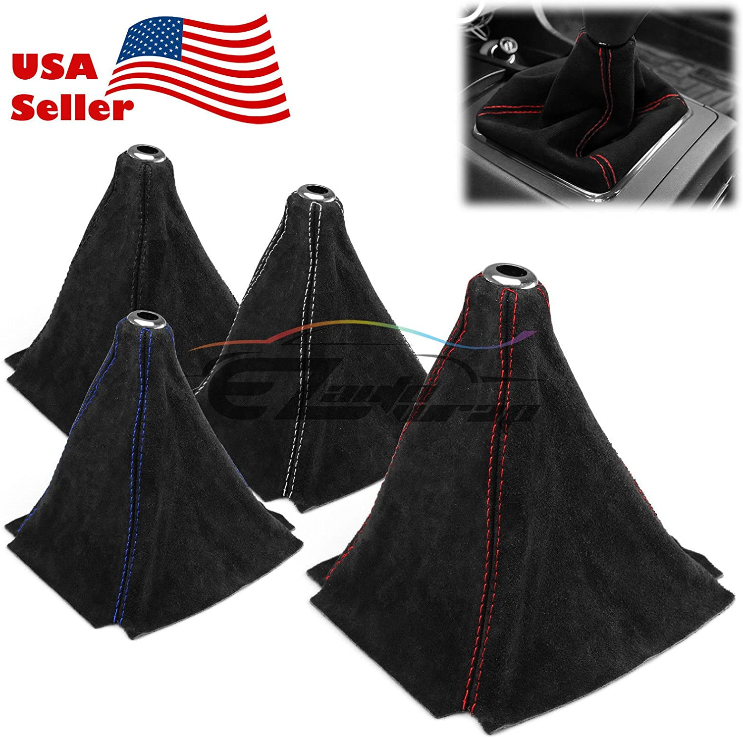 For IS300 4 Row Blue Stitches Carbon Fiber Look Shift Knob Shifter Boot Cover
