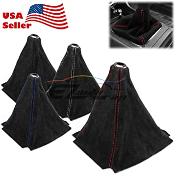 Genuine Leather Alcantara Suede Shift Knob Boot Cover Black With Red Stitches
