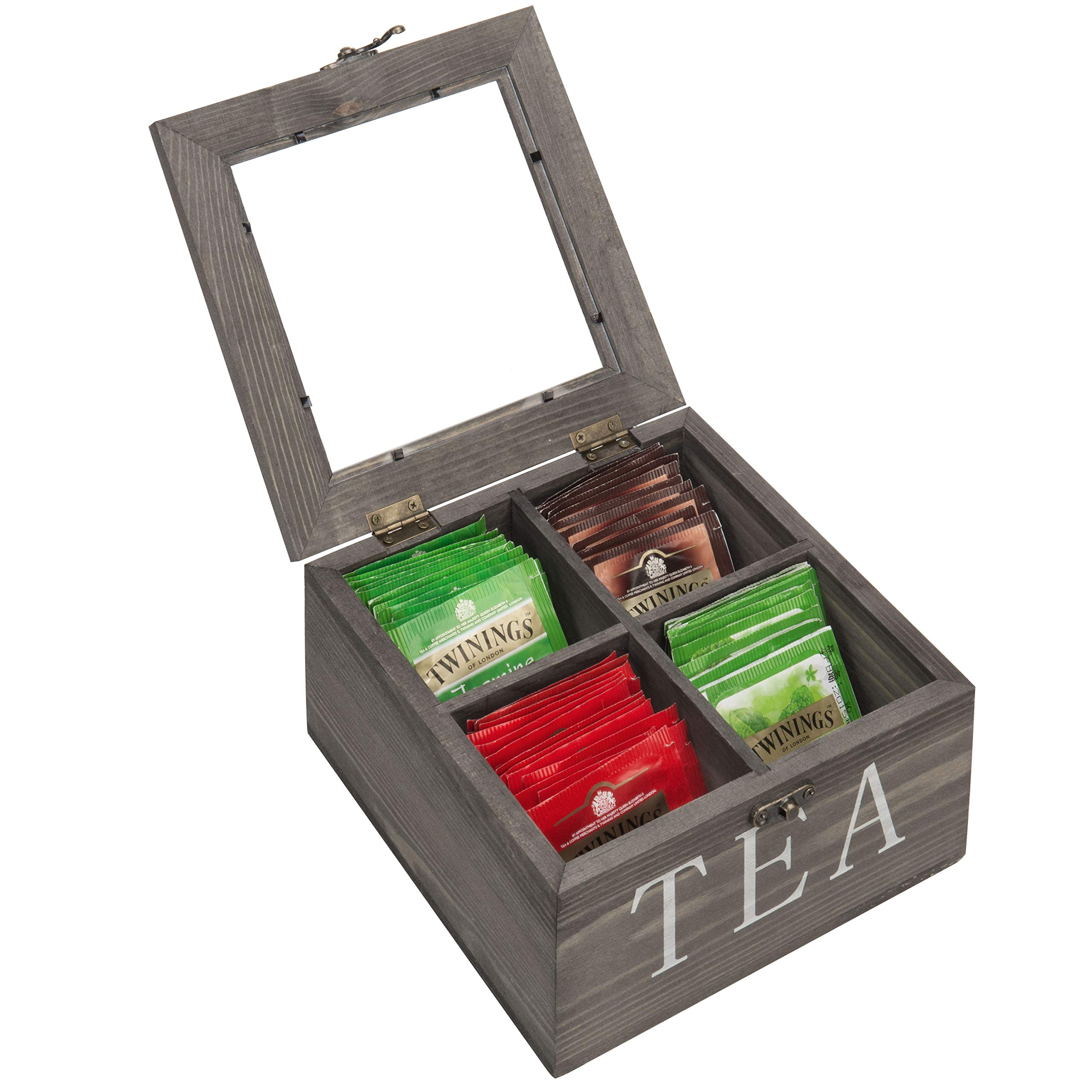MyGift 4-Slot Rustic Grey Wood Tea Bag Storage Chest with Clear Lid by MyGift