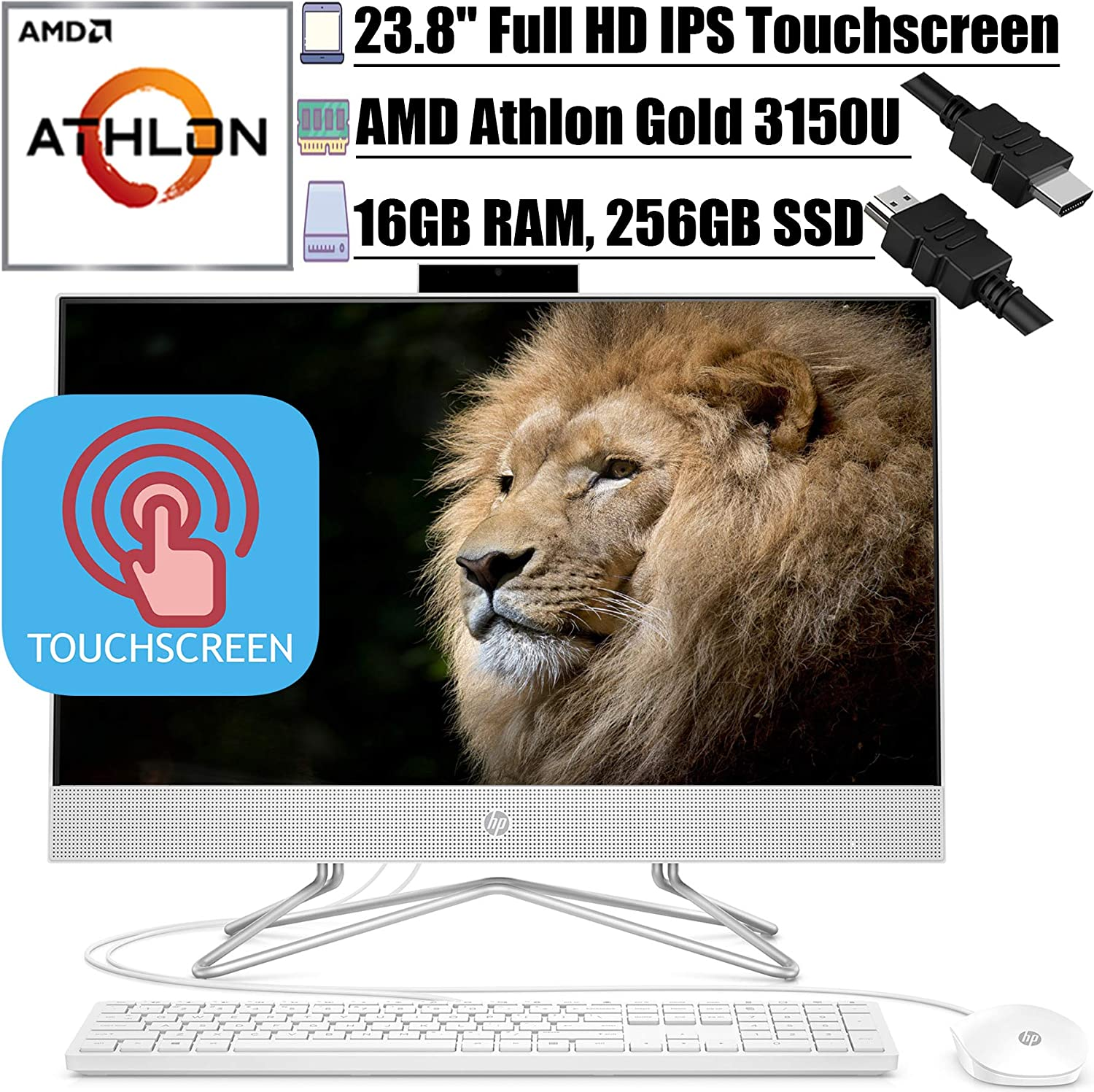 """2020 Flagship HP 24 All in One Desktop Computer 23.8""""FHD IPS Touchscreen Display AMD Athlon Gold 3150U 16GB DDR4 256GB SSD WiFi DVD AMD Radeon Graphics Keyboard and Mouse Win 10 + iCarp HDMI Cable"""