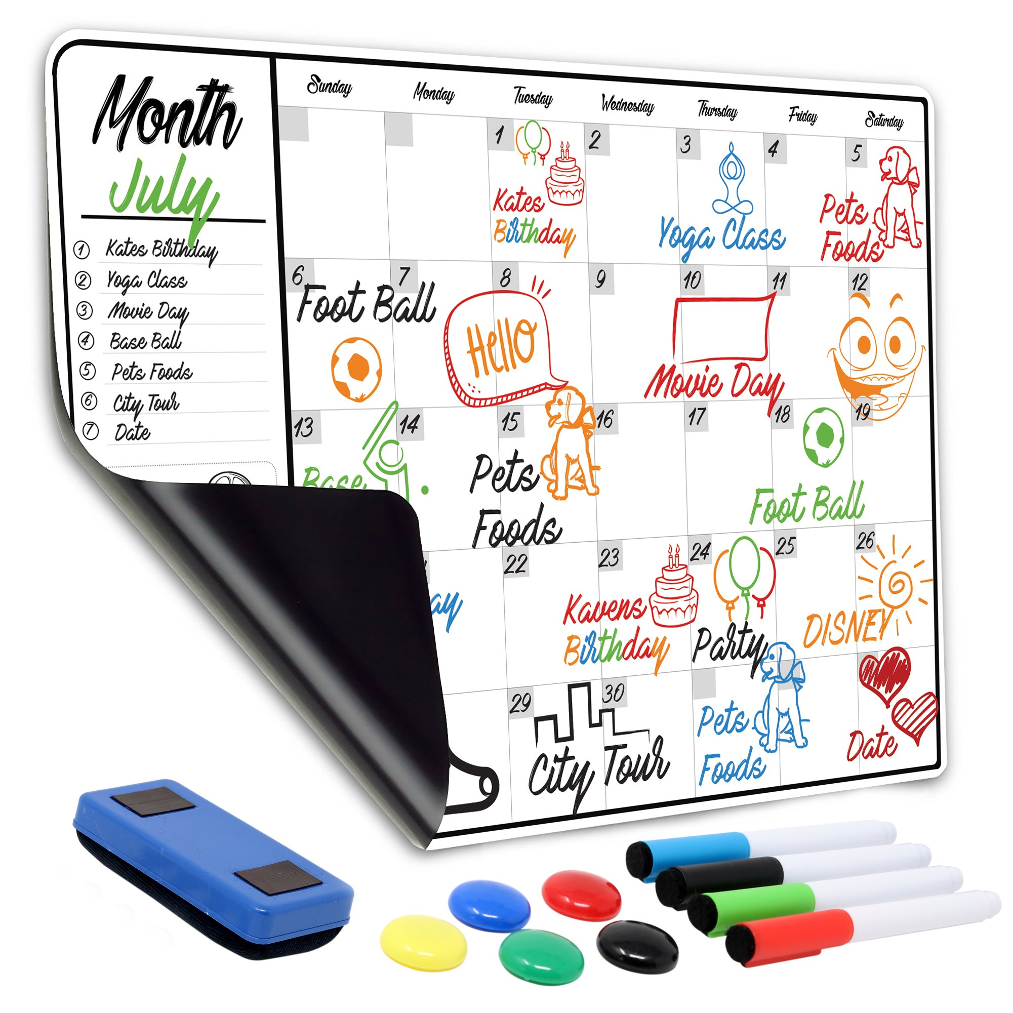 "Monthly Magnetic Dry Erase Calendar | 13"" x 19"" Large Magnetic White Board For Refrigerator & Wall With 1 Eraser, 4 Markers & 5 Buttons – Meal Menu Grocery Chore To-Do Activity Smart Monthly Planner"