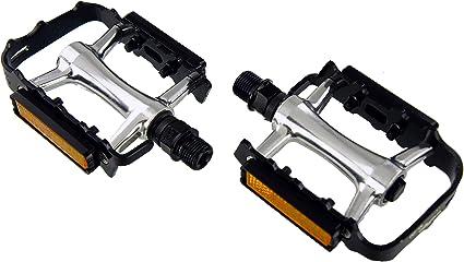 "Bicycle Pedals Metal Alloy Flat Platform 9//16/"" Pedal Reflective Reflectors Sale"