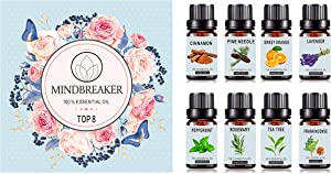 Organic Aromatherapy Essential Oils Set – TOP8 All Oil Diffusers, Frankincense, Lavender, Tea Tree, Sweet Orange, Peppermint, Cinnamon, Pine Needle, Rosemary for Home, Office, Sleep, Yoga