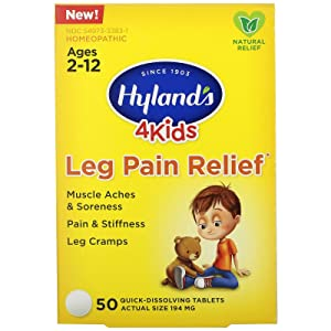 Hyland's 4 Kids Leg Pain Relief, Natural Relief of Muscle Aches & Soreness, Stiffness, Leg Cramps, 50 Tablets