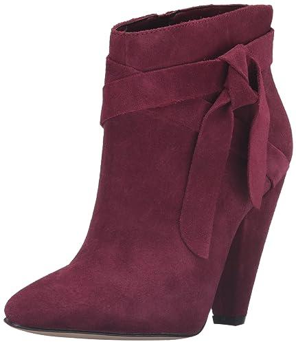 Nine West Women's Acesso Suede Ankle Bootie, Dark Red, ...