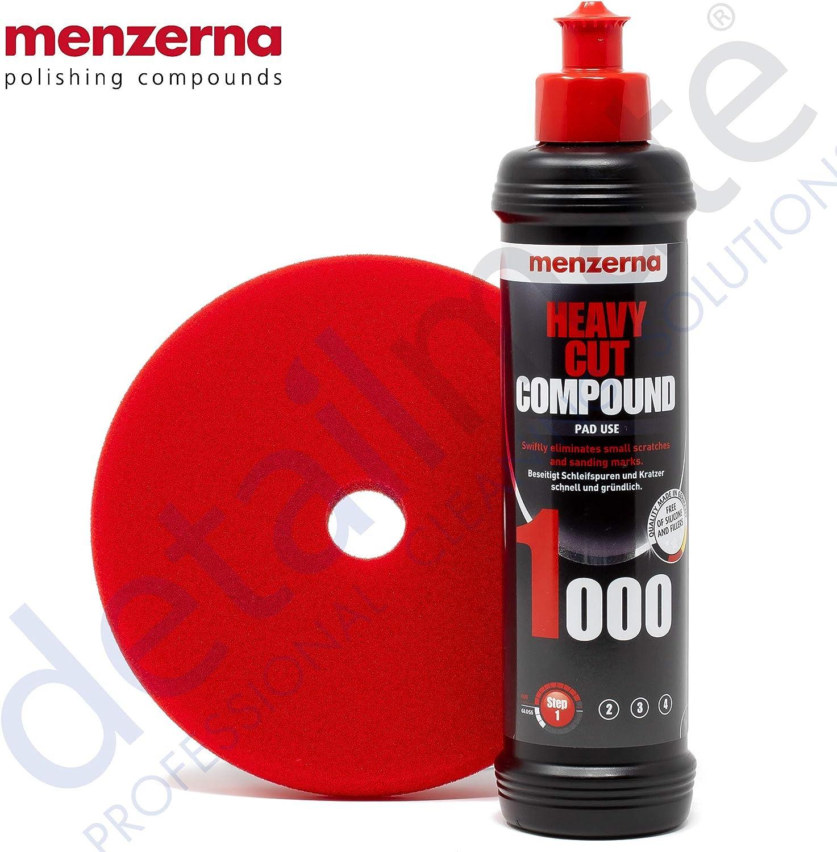 Detailmate Menzerna Autopolitur Set 1000er Körnung 250 Ml Mit Passendem Polier Pad Heavy Cut Foam 150 Mm 6 0 Auto