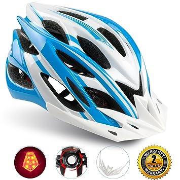 Casco Bicicleta/Casco Bicic con Luz LED,Certificado CE,Casco Ciclismo con Visera
