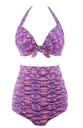 f692307b61 Amazon.com  YaYa Bay Womens 50s Sexy Retro Halter Straps Layering Ruched  Vintage Purple Printed High Waist Bikini Swimsuit 2X Large Size  Clothing